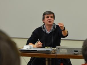 João Ricardo Pateiro manteve a audiência interessada durante mais de duas horas, ao falar da sua experiência como jornalista desportivo Foto: Soraia Barros