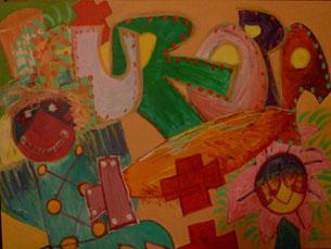 A pintora Pat utiliza a técnica de pintura de acrílico em tela nas obras expostas Foto: DR