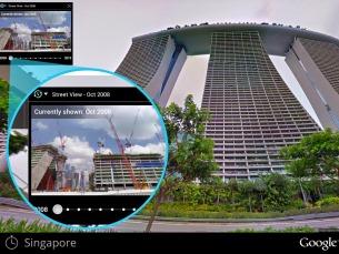 """A possibilidade de viajar no tempo é assinalada com um relógio na opção """"Street View"""" Foto: DR"""