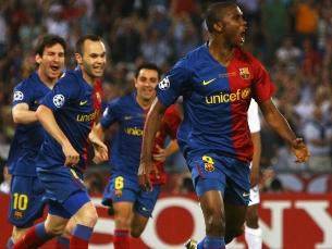 """Eto'o inaugurou o marcador na noite do """"super"""" Barça Foto: UEFA"""