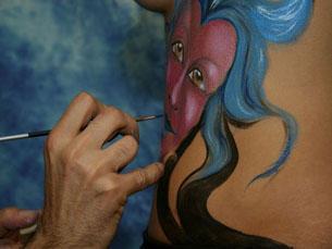 O bodypainting é uma arte cada vez mais reconhecida Foto: DR