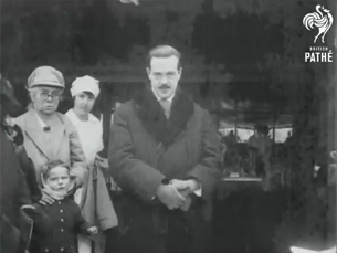 Exilado em Inglaterra, o rei D. Manuel II é aqui filmado pela British Pathé, em 1926 Foto: DR