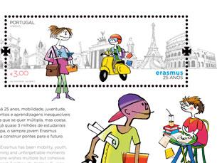 O bloco de homenagem ao programa Erasmus, com selo e carimbo, custa 3 euros Foto: CTT