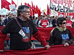 """O """"pacto para o euro"""" tem levado a manifestações em Bruxelas Foto: Nuno Matos"""