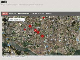 O mila assinala no mapa os locais onde as pessoas de mobilidade reduzida podem encontrar obstáculos Foto: DR
