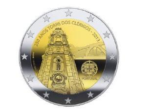 A moeda de 2 euros vai contar com o desenho da Torre dos Clérigos e da Ponte D. Luís Imagem: Imprensa Nacional