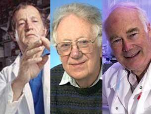 Mario Capecchi, Oliver Smithies e Martin Evans Fotos: DR