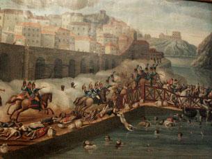 Pormenor de quadro alusivo ao desastre em exposição na Biblioteca Almeida Garrett Foto: Sara Santos Silva