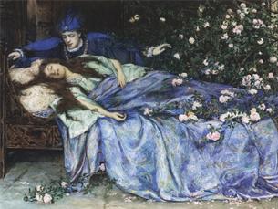 No conto original dos irmãos Grimm, a Bela Adormecida acorda ao dar à luz, depois de ter sido violada pelo rei que a encontrou no castelo Foto: DR (Pintura de Henry Meynell Rheam)