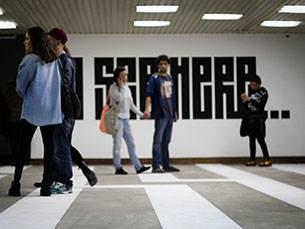 A exposição de Street Art está no Edifício Axa até 1 de junho Foto: Inês Graça