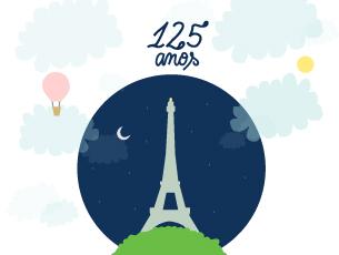 """A Torre Eiffel, também apelidada de """"Dama de Ferro"""", comemora 125 anos Ilustração: Rita Salomé Esteves"""