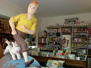 """Na livraria """"Tim Tim Por Tim Tim"""" é possível encontrar as edições mais antigas do herói criado por Hergé Foto: Tânia Monteiro"""