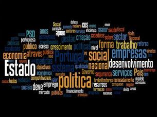 """A """"nuvem de palavras"""" que reúne todos os programas eleitorais destaca """"Portugal"""", """"política"""" e """"social"""" Foto: Marília Freitas"""