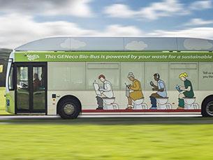 O autocarro de 40 lugares, que faz cerca de 300 quilómetros com o depósito cheio, utiliza gás biometano Foto: DR