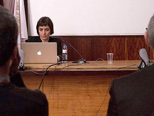 Eva Dominguez apresentou conclusões da sua tese de doutoramento sobre o jornalismo imersivo Foto: Mauro Ferrão