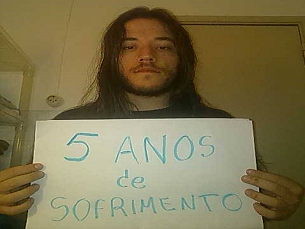 João Ribeiro, numa ação de sensibilização do grupo dos Jovens Portadores de Fibromialgia Foto: João Ribeiro
