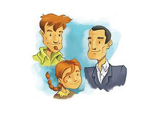 Maria, Luís e Miguel são uma família