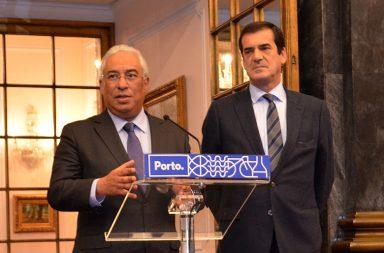 António Costa, esta manhã, à saída da reunião com o presidente da CM Porto, Rui Moreira