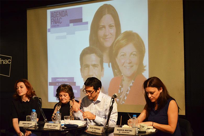 """Elisa Ferreira (PS), Miguel Viegas (PCP) e Marisa Matias (BE) discutiram a União Bancária, no """"Café Europa"""", organizado pelo Parlamento Europeu"""