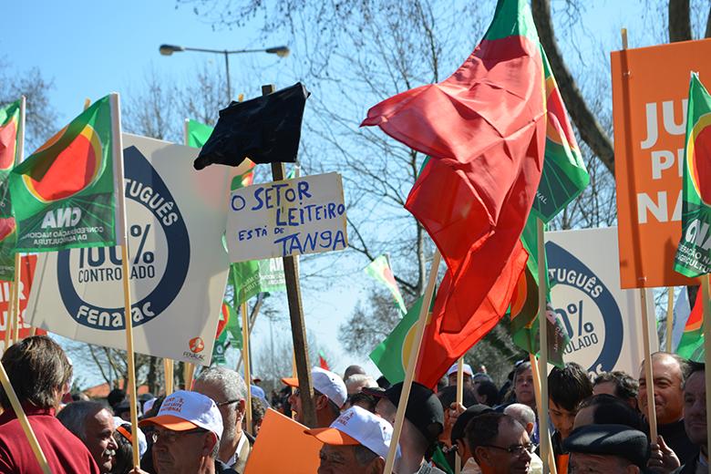 Não faltaram cartazes de protesto e bandeiras portuguesas