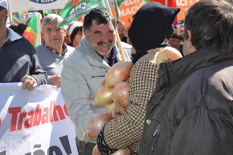 Os produtores estavam em clima de protesto, mas realçaram que queriam uma manifestação pacífica
