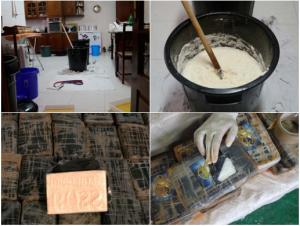 """Imagens de uma apreensão a um laboratório de """"extração secundária"""" feitas Polícia Judiciária portuguesa"""