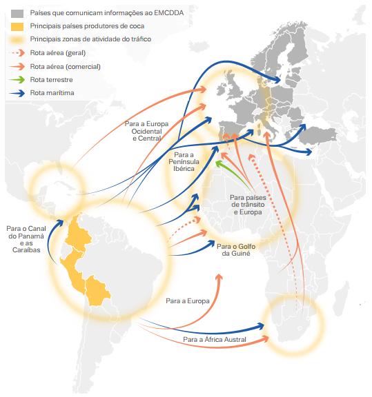 Principais fluxos do tráfico de cocaína para a Europa