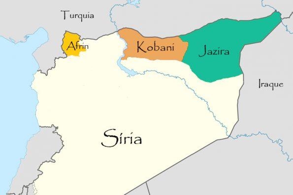 Mapa com os cantões de Rojava no Norte da Síria.