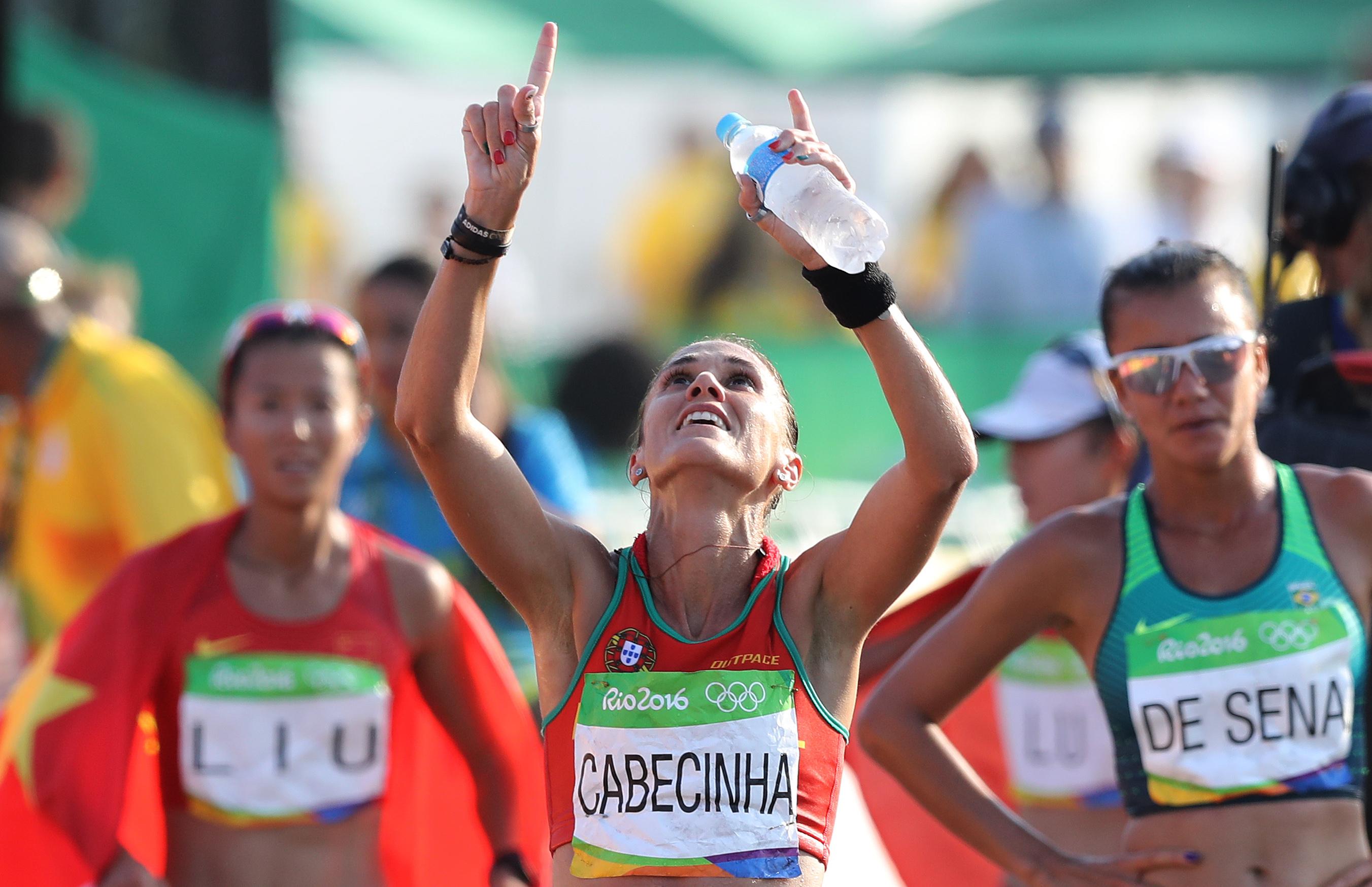 Ana Cabecinha no momento em que cortou a meta.