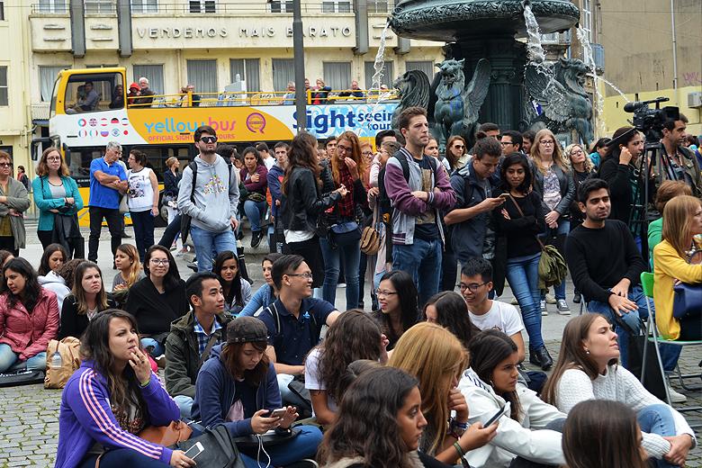 Muitos dos estudantes estrangeiros que escolheram a UP para um período de mobilidade também estiveram presentes.