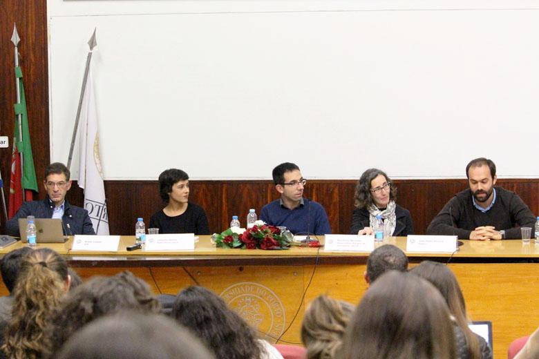 Daniel Catalão, Catarina Santos, Pedro Jerónimo, Ana Pinto Martinho e João Pedro Pereira na FLUP.