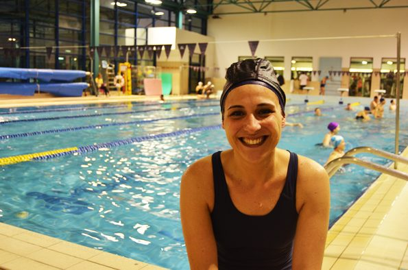Andreia Martins, 36 anos, aluna de hidroginástica há 2 anos. Foto: Beatriz Carneiro