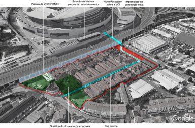 Área do Antigo Matadouro assinalada a vermelho. A imagem consta da apresentação do projeto da CMP.