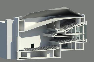 """Desenho do interior do novo cinema Batalha, já com a sala estúdio """"encaixada"""" no 2º Balcão."""