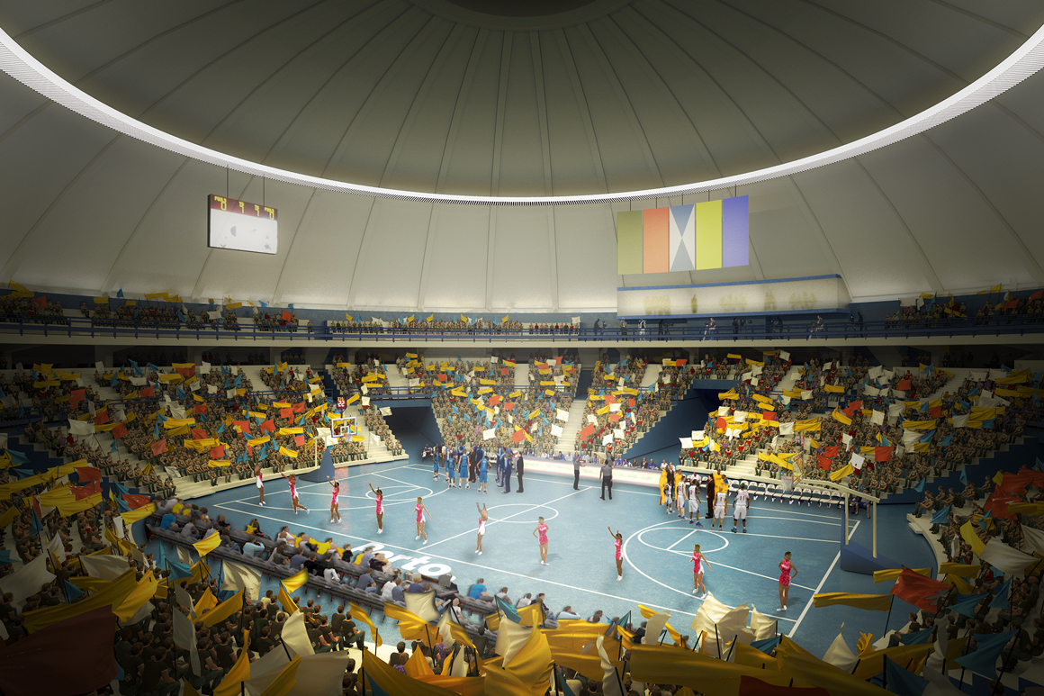 Simulação de um evento desportivo no futuro pavilhão.