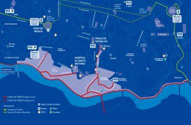 Plano de Mobilidade previsto para a zona ribeirinha e áreas adjacentes.