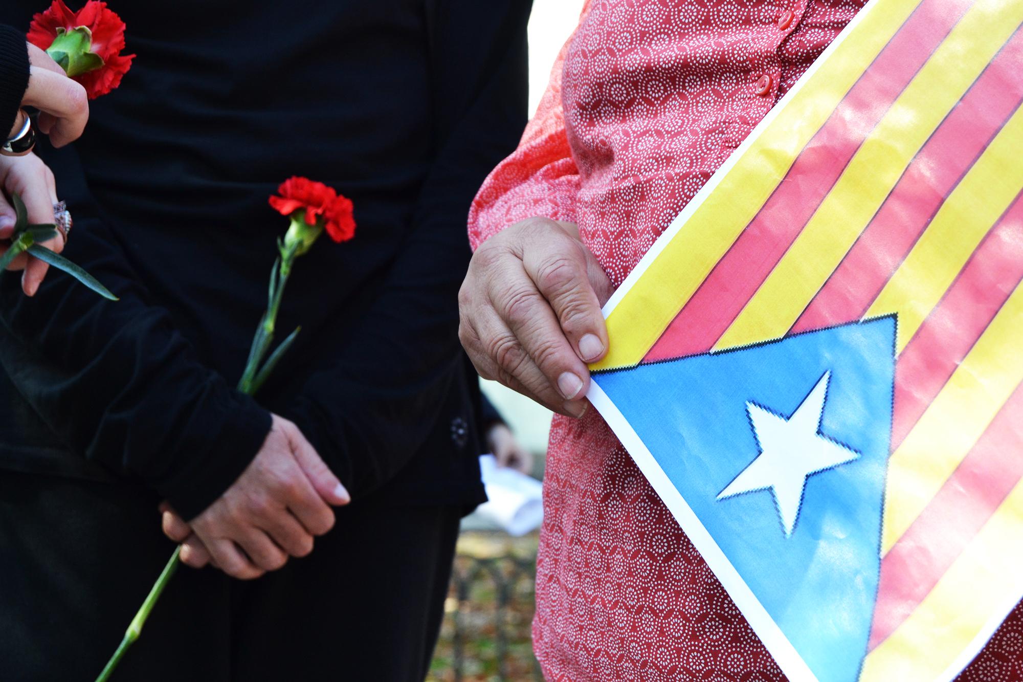 A bandeira da Catalunha foi o principal símbolo utilizado na manifestação.