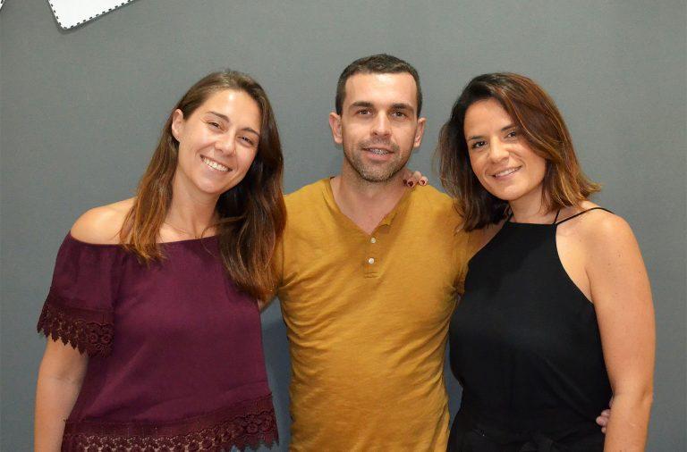 """Três dos cinco sócios do """"No Way Out"""". Maria Capelas (à esquerda) Pedro Balreira e Daniela Nunes."""