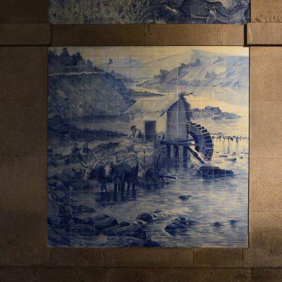 Representação do painel Azenha do rio Douro.