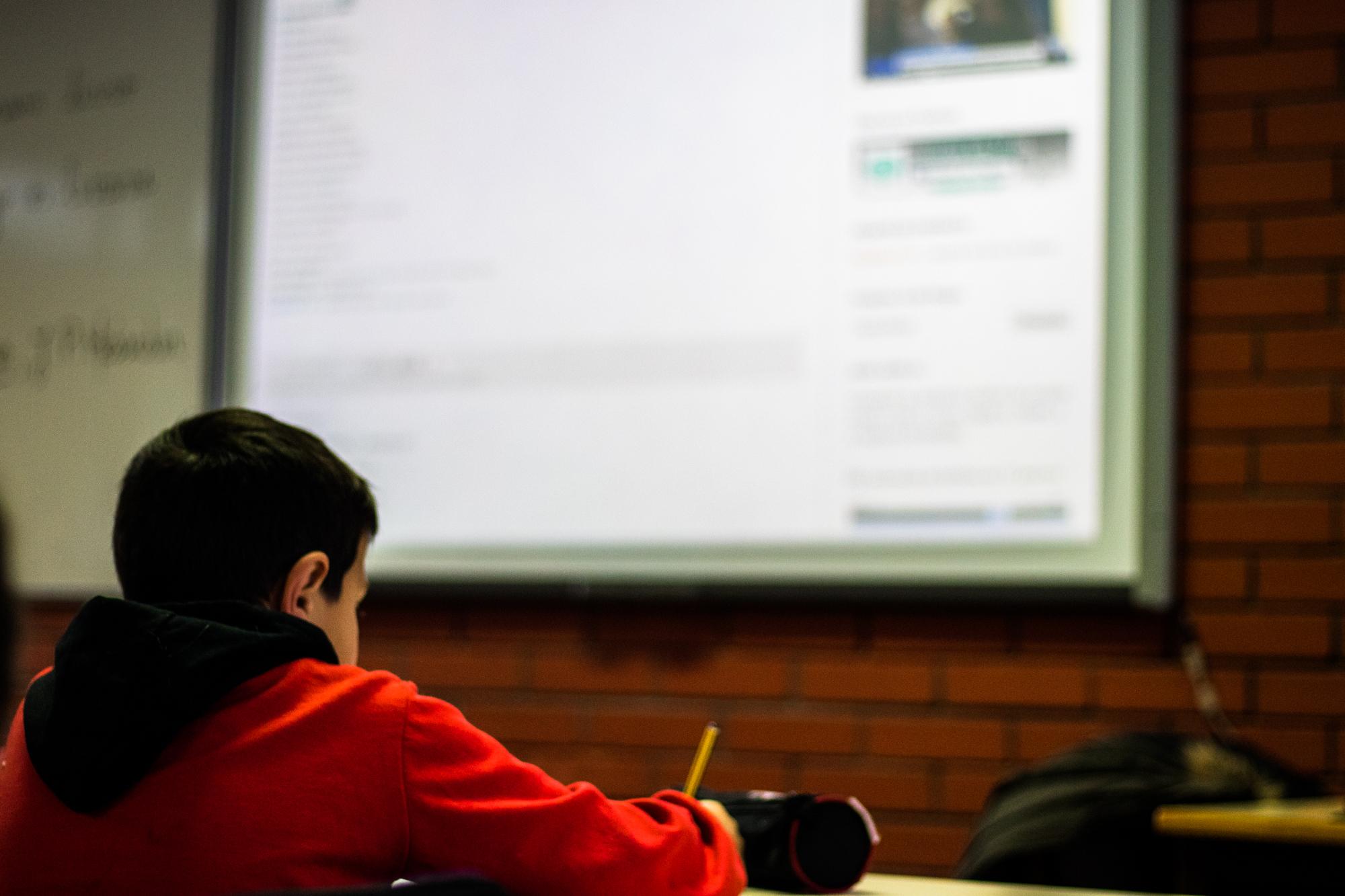 Alunos de 5º ano numa aula de português ao abrigo do projeto de Flexibilização Curricular