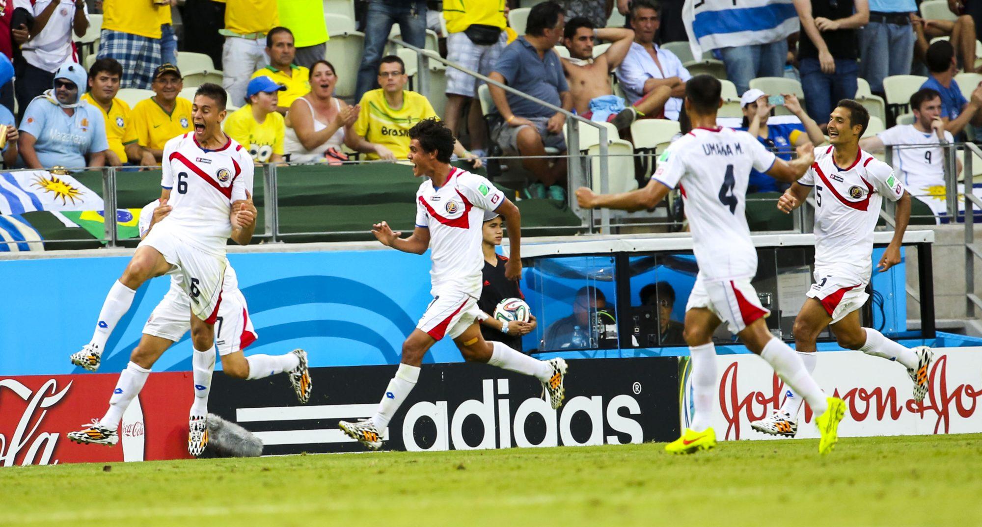 A Costa Rica venceu o Uruguai por 1-3 na fase de grupos.