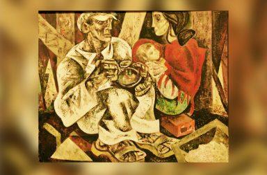 """""""O Almoço do Trolha"""" (1946-1950) é uma das suas obras mais emblemáticas. Foi exposta, ainda inacabada, na Exposição Geral de Artes Plásticas de 1947."""