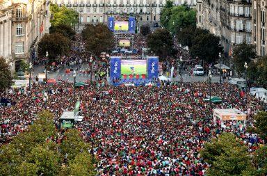 Imagem da final do Euro 2016, nos Aliados, jogo em que Portugal se sagrou campeão europeu de futebol.
