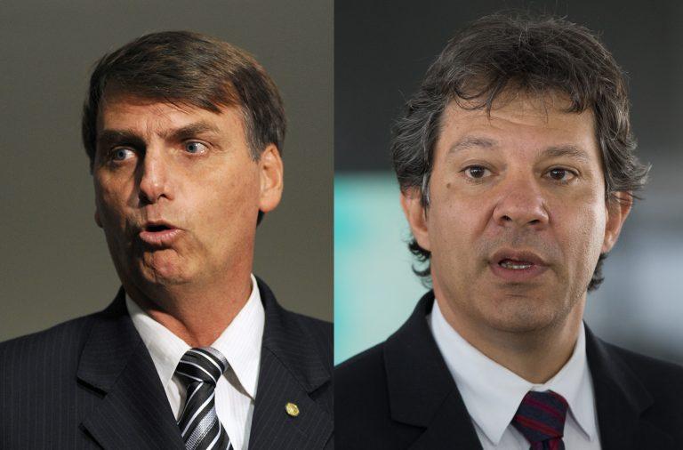 Jair Bolsonaro e Fernando Haddad vão disputar a segunda volta no Brasil.