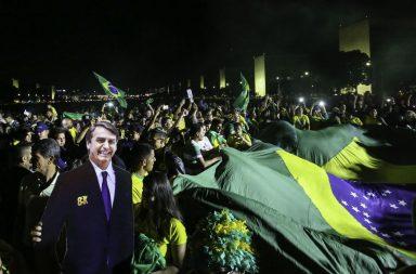 Comemoração da vitória de Jair Bolsonaro em Brasília.