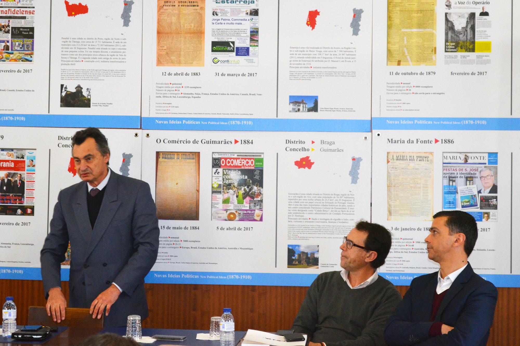 João Palmeiro na sessão pública do acordo entre a Associação de Imprensa Portuguesa e a Google, na Associação de Jornalistas e Homens de Letras do Porto