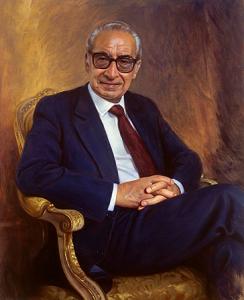 António de Almeida Santos, histórico do PS, foi retratado por António Macedo