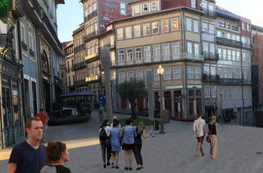 Imagem virtual do Largo de São Domingos sem carros.