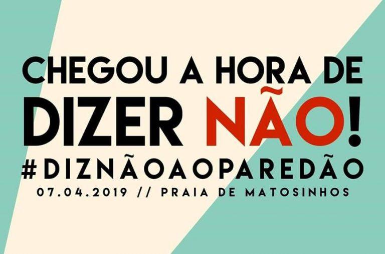 """O movimento """"Diz Não ao Paredão"""" contesta o prolongamento do quebra-mar no Porto de Leixões."""