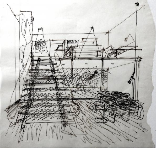 Este desenho do arquiteto Eduardo Souto de Moura faz parte do conjunto de obras que serão leiloadas.